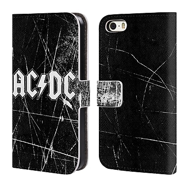 Official AC/DC Acdc Logo White Grunge Leather Book Wallet Case Cover For Apple Iphone 5 / 5S / Se