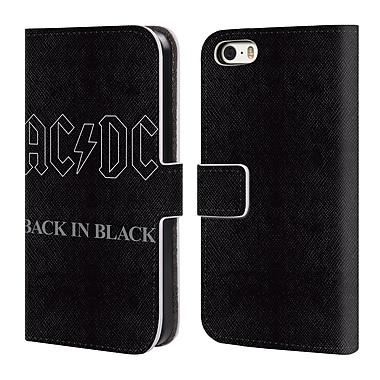 Official AC/DC Acdc Logo Back In Black Outline Leather Book Wallet Case Cover For Apple Iphone 5 / 5S / Se