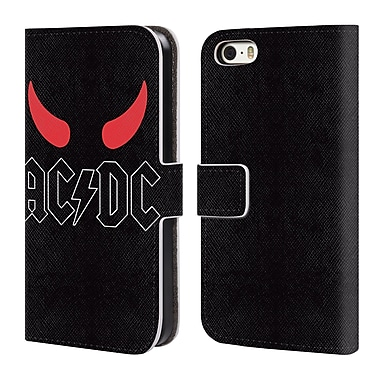 Official AC/DC Acdc Logo Horns Leather Book Wallet Case Cover For Apple Iphone 5 / 5S / Se