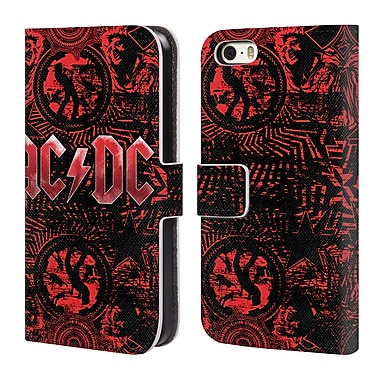 Official AC/DC Acdc Logo Ornate Red Leather Book Wallet Case Cover For Apple Iphone 5 / 5S / Se