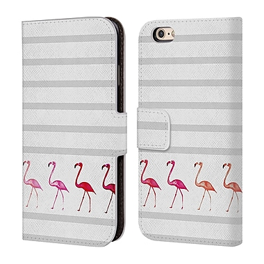 Official Monika Strigel Flamingos And Stripes Grey Leather Book Wallet Case Cover For Apple Iphone 6 / 6S
