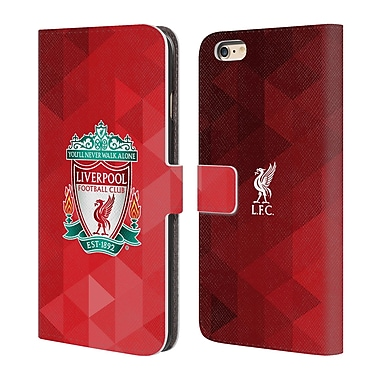 Official Liverpool Football Club Crest 1 Red Geometric 1 Leather Book Wallet Case Cover For Apple Iphone 6 Plus / 6S Plus