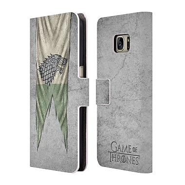 Official HBO Game Of Thrones Sigil Flags Stark Leather Book Wallet Case Cover For Samsung Galaxy S7
