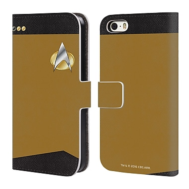 Official Star Trek Uniforms And Badges Tng Lieutenant Commander Leather Book Wallet Case Cover For Apple Iphone 5 / 5S / Se