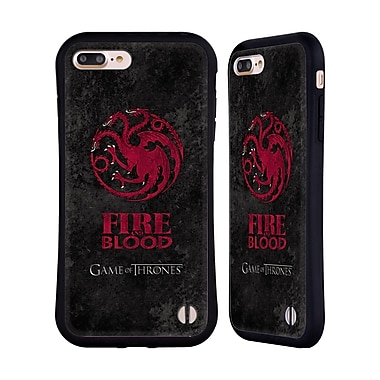 Official HBO Game Of Thrones Dark Distressed Sigils Targaryen Hybrid Case For Apple Iphone 7 Plus / 8 Plus
