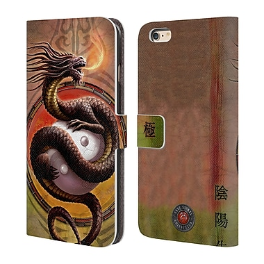 Official Anne Stokes Dragons Yin Yang Protector Leather Book Wallet Case Cover For Apple Iphone 6 Plus / 6S Plus
