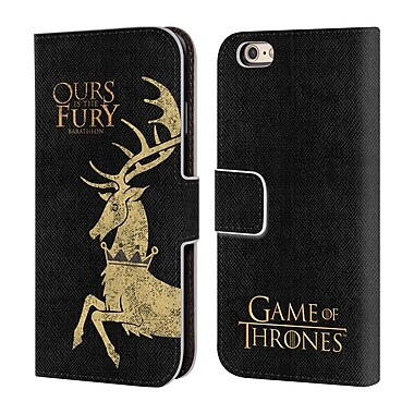 Official HBO Game Of Thrones House Mottos Baratheon Leather Book Wallet Case Cover For Apple Iphone 6 / 6S