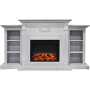 "Cambridge Sanoma 72"" Electric Fireplace in White with Built-in Bookshelves and an Enhanced Log Display (CAM7233-1WHTLG2)"