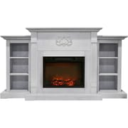 "Cambridge Sanoma 72"" Electric Fireplace in White with Built-in Bookshelves and a 1500W Charred Log Insert (CAM7233-1WHT)"