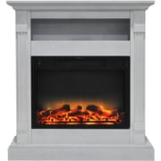 "Cambridge Sienna 34"" Electric Fireplace w/ Enhanced Log Display and White Mantel (CAM3437-1WHTLG2)"