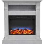 "Cambridge Sienna 34"" Electric Fireplace w/ Multi-Color LED Insert and White Mantel (CAM3437-1WHTLED)"