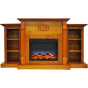 """Cambridge Sanoma 72"""" Electric Fireplace in Teak with Built-in Bookshelves & Multi-Color LED Flame Display (CAM7233-1TEKLED)"""