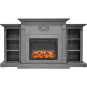 "Cambridge Sanoma 72"" Electric Fireplace in Gray with Built-in Bookshelves and an Enhanced Log Display (CAM7233-1GRYLG2)"