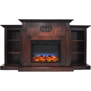 """Cambridge Sanoma 72"""" Electric Fireplace in Mahogany with Built-in Bookshelves & Multi-Color LED Flame Display (CAM7233-1MAHLED)"""