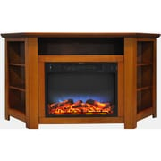 "Cambridge Stratford 56"" Electric Corner Fireplace in Teak with LED Multi-Color Display (CAM5630-1TEKLED)"