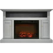 "Cambridge Sorrento Electric Fireplace with 1500W Log Insert and 47"" Entertainment Stand in Gray (CAM5021-2GRY)"