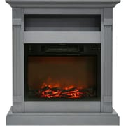 "Cambridge Sienna 34"" Electric Fireplace w/ 1500W Log Insert and Gray Mantel (CAM3437-1GRY)"