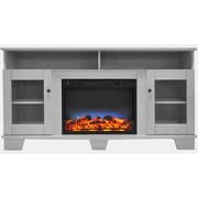 "Cambridge Savona 59"" Electric Fireplace in White with Entertainment Stand and Multi-Color LED Flame Display (CAM6022-1WHTLED)"