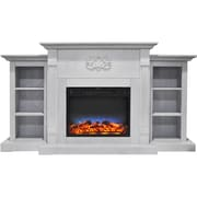 "Cambridge Sanoma 72"" Electric Fireplace in White with Built-in Bookshelves & Multi-Color LED Flame Display (CAM7233-1WHTLED)"