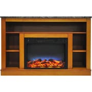 """Cambridge 47"""" Electric Fireplace with a Multi-Color LED Insert and Teak Mantel (CAM5021-1TEKLED)"""