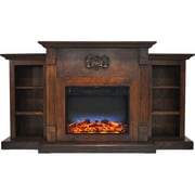 """Cambridge Sanoma 72"""" Electric Fireplace in Walnut with Built-in Bookshelves & Multi-Color LED Flame Display (CAM7233-1WALLED)"""