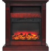 "Cambridge Sienna 34"" Electric Fireplace w/ Enhanced Log Display and Cherry Mantel (CAM3437-1CHRLG2)"