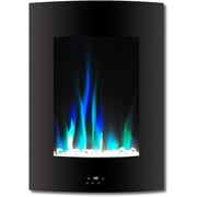 "Cambridge 19.5"" Vertical Electric Fireplace in Black with Multi-Color Flame and Crystal Display (CAM19VWMEF-1BLK)"