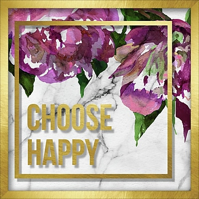 Linden Avenue Wall Art CHOOSE HAPPY MARBLE AND WATERCOLOR PEONIES 12