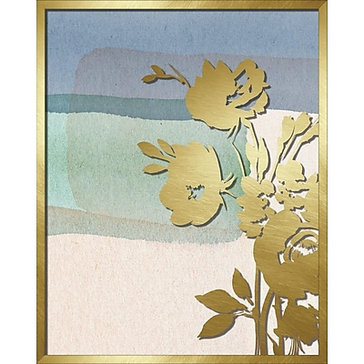 Linden Avenue Wall Art BLUE ABSTRACT WATERCOLOR W. PEONY SILHOUETTE 16