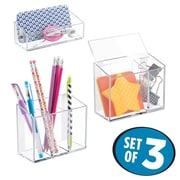 InterDesign AFFIXX Peel and Stick Strong Self-Adhesive Desk Organizers, Clear (21240)
