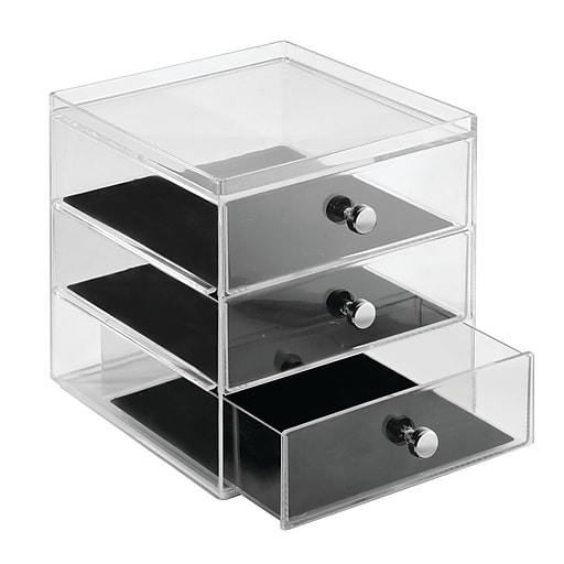 2dbbc60db InterDesign Fashion Office or Jewelry Organizer Box for Office Supplies and  Jewelry - 3-Drawer, Clear/Ivory (37780) | Staples