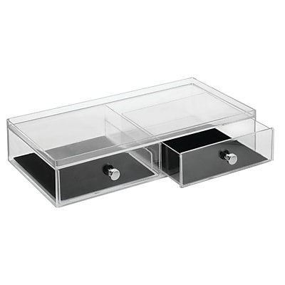 InterDesign Fashion Office or Jewelry Organizer Box for Office Supplies and Jewelry, 3-Drawer, Clear/Ivory (37980)