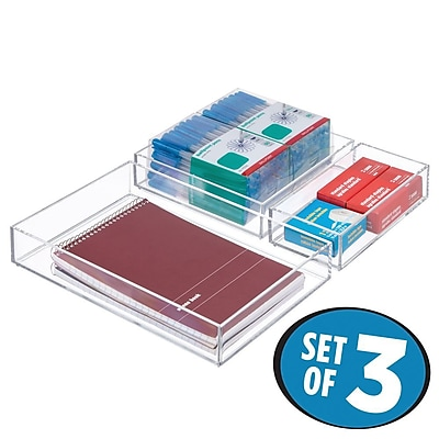 InterDesign Clarity Desk Organizer Combo Set to Hold Office Supplies - Set of 3, Clear (49697C3)