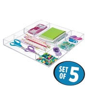 InterDesign Clarity Cosmetic Drawer Organizer for Office Desk Organization - 5 Piece Set, Clear (49696C5)
