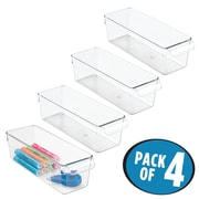 InterDesign Linus Binz Office Storage For Desk Or Cabinet   4 Pack, Clear  (58930M4