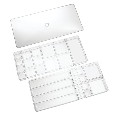 InterDesign Linus 37 Compartments Vanity and Drawer Organizer, Clear (61030)