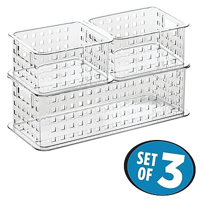 InterDesign Office Stack and Slide Storage Baskets for Office, Clear (88999C3)