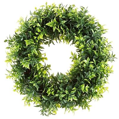 Pure Garden Artificial Basil Leaf Wreath 11.5
