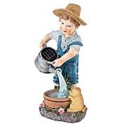 Pure Garden Solar LED Weather Resistant Polyresin Boy Statue (M150087)