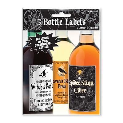 Amscan Halloween Bottle Labels, 5.25