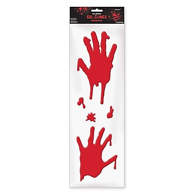 Amscan Halloween Bloody Hands Gel Cling Decals, 4/Pack (220191)