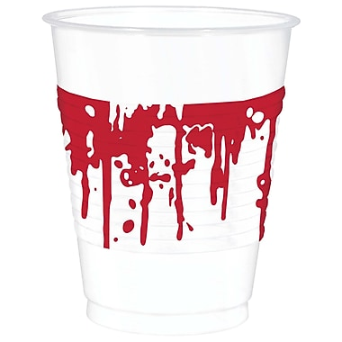 Amscan Halloween Blood Spatter Cups, 16 oz., Plastic, 2/Pack, 25 Per Pack (420045)