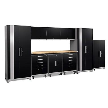 NewAge Performance Plus 2.0 Black 10 Piece Storage Cabinet Set, Bamboo Worktop (53067)