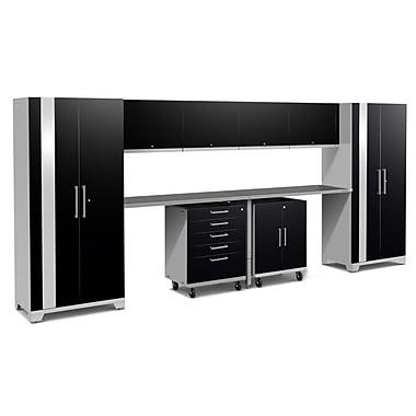 NewAge Performance Plus 2.0 Black 10 Piece Storage Cabinet Set, Stainless Steel Worktop (53138)