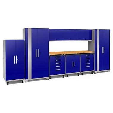 NewAge Performance Plus 2.0 Blue 10 Piece Storage Cabinet Set, Bamboo Worktop (53267)
