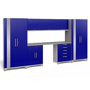 NewAge Performance Plus 2.0 Blue 8 Piece Storage Cabinet Set, Stainless Steel Worktop (53326)