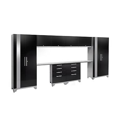 NewAge Performance 2.0 Black 10 Piece Storage Cabinet Set, Stainless Steel Worktop (53582)