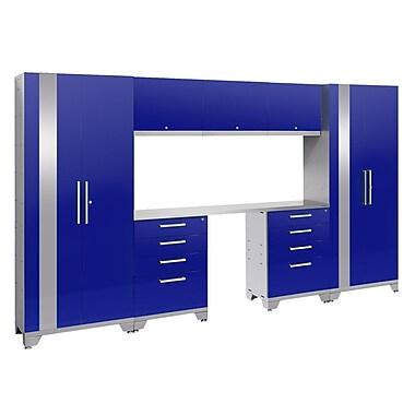 NewAge Performance 2.0 Blue 8 Piece Storage Cabinet Set, Stainless Steel Worktop (53766)