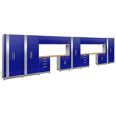 NewAge Performance 2.0 Blue 16 Piece Storage Cabinet Set, Bamboo Worktop (53820)