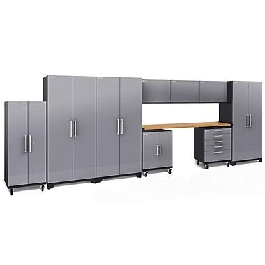 NewAge Performance Plus 2.0 Diamond Plate Silver 10 Piece Storage Cabinet Set, Bamboo Worktop (55284)